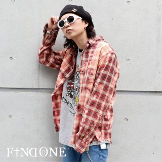 【3/7 22:00〜販売開始】F1ND ONE Remake Bleach Check Shirt �