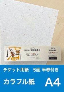 チケット用紙 : カラフル紙 5面 半券付き 【A4サイズ】