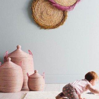 OlliElla  Pink  Lidded Basket (small・Medium・ Large  )