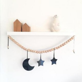Wood Garland mirror  From Turkey (silver black 2色展開)