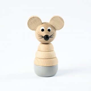 Sarah and Bendrix Cecil - Wooden Stacking Mouse Toy (gray)