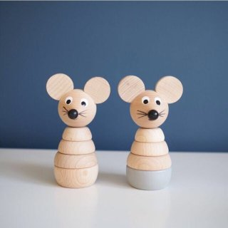 Sarah and Bendrix Cecil - Wooden Stacking Mouse Toy (natural)