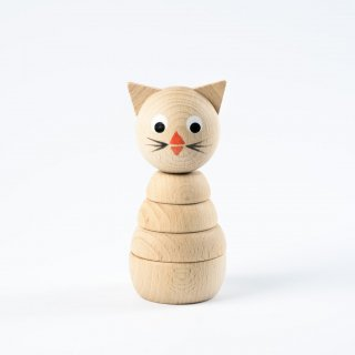 Sarah and Bendrix  Wooden Kitten Stacking Toy(white  natural)