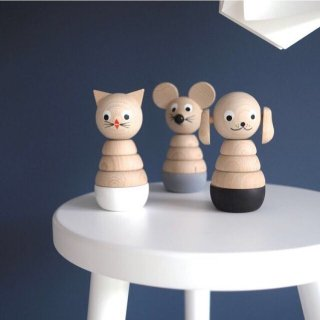Sarah and Bendrix  Wooden Dog Stacking Toy Black