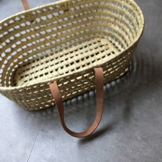 leather handed doll basket