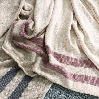 Lorena Canals Blanket  Stripes natural/nudepink ご予約分(2月〜4月入荷見込)