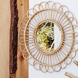 flower Rattan mirror