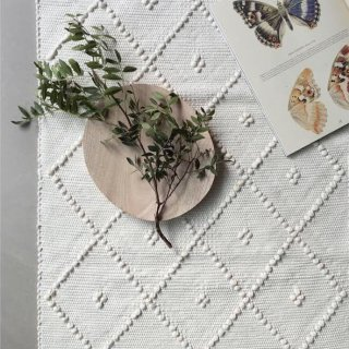mikanu cotton mini  rug (4 dot)creme