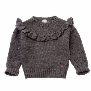 tocotovintage openwork knitted frill sweater (dark gray)