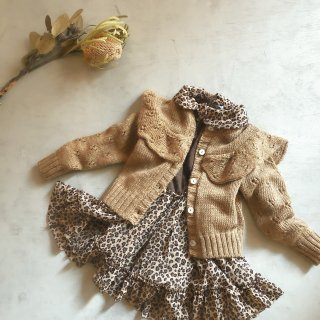 tocotovintage openwork knitted frill cardigan  (beigebrown)