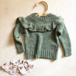 !tocotovintage openwork knitted sweater(green)