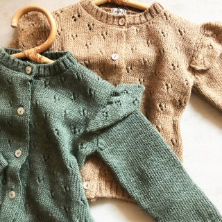 tocotovintage baby 透かしあみ cardigan  (beigebrown)