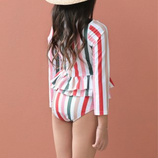 <img class='new_mark_img1' src='//img.shop-pro.jp/img/new/icons14.gif' style='border:none;display:inline;margin:0px;padding:0px;width:auto;' />striped longsleeved  ruffle  swimmer