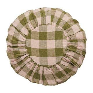 <img class='new_mark_img1' src='https://img.shop-pro.jp/img/new/icons14.gif' style='border:none;display:inline;margin:0px;padding:0px;width:auto;' />Projektityyny  Leinikki gingham round cushion, olive/peach