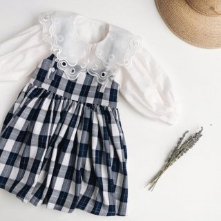 <img class='new_mark_img1' src='https://img.shop-pro.jp/img/new/icons14.gif' style='border:none;display:inline;margin:0px;padding:0px;width:auto;' />Meskidsdesfleurs  Plaid print dress(navy)