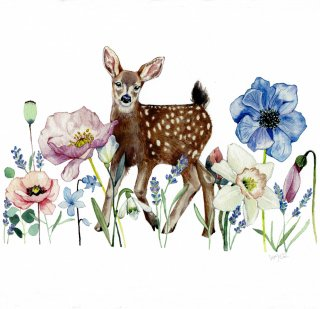 <img class='new_mark_img1' src='https://img.shop-pro.jp/img/new/icons14.gif' style='border:none;display:inline;margin:0px;padding:0px;width:auto;' />Fawns and flowers Print   from  Hawaii