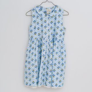 <img class='new_mark_img1' src='https://img.shop-pro.jp/img/new/icons20.gif' style='border:none;display:inline;margin:0px;padding:0px;width:auto;' />SALE!!Little cottons dress Maggie dress (HERRINGBONE FLORAL BLUE)
