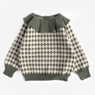 <img class='new_mark_img1' src='https://img.shop-pro.jp/img/new/icons14.gif' style='border:none;display:inline;margin:0px;padding:0px;width:auto;' />Meskidsdesfleurs  Frilled Collar  sweater (green)カシミア
